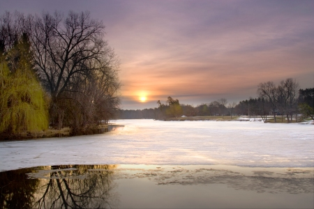 Last Days of Ice. Springville Pond, Plover, Wisconsin