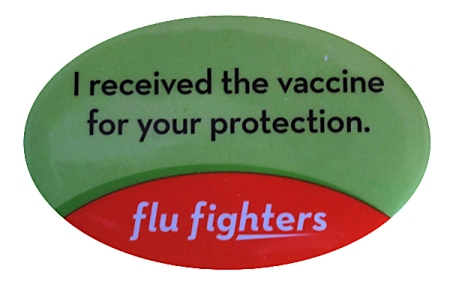 Flu Fighters button proudly displayed by Ministry Health Care employees who have received this year's flu shot.  Join us in protecting you and your loved ones today, get your flu shot.