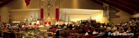 Christmas Eve Mass, St. Bronislava Church. Plover, Wisconsin.  This is a panoramic image stitched together from three separate images.