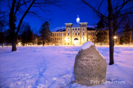 "UWSP Old Main, inscription on the rock ""State Teachers College, Class 1931"""