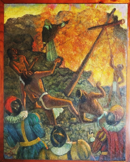 """The Baptism of the Volcano"".  At the beginning of 1592 the Friar Francisco de Bobadilla, ordered a cross to be placed on the crater, considered as ""The Mouth of Hell"".  The cross has kept the devil in its home ever since. The painting is displayed in the Park's visitor center."