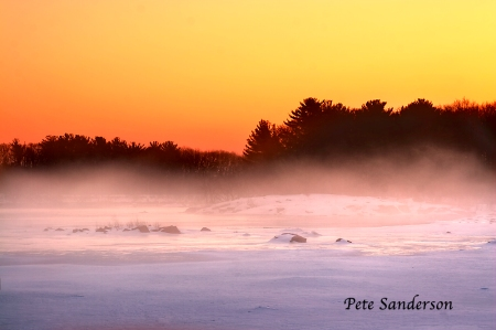 Wisconsin River at sunrise. Near Stevens Point, Wisconsin