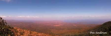 This is a panoramic image stitched together from six individual images. Image was captured from Mombacho. You can see the northern end of Lake Nicaragua extending to the right. Granada is in the center, Las Islates arcs into Lake Nicaragua. Click on the image for a larger version