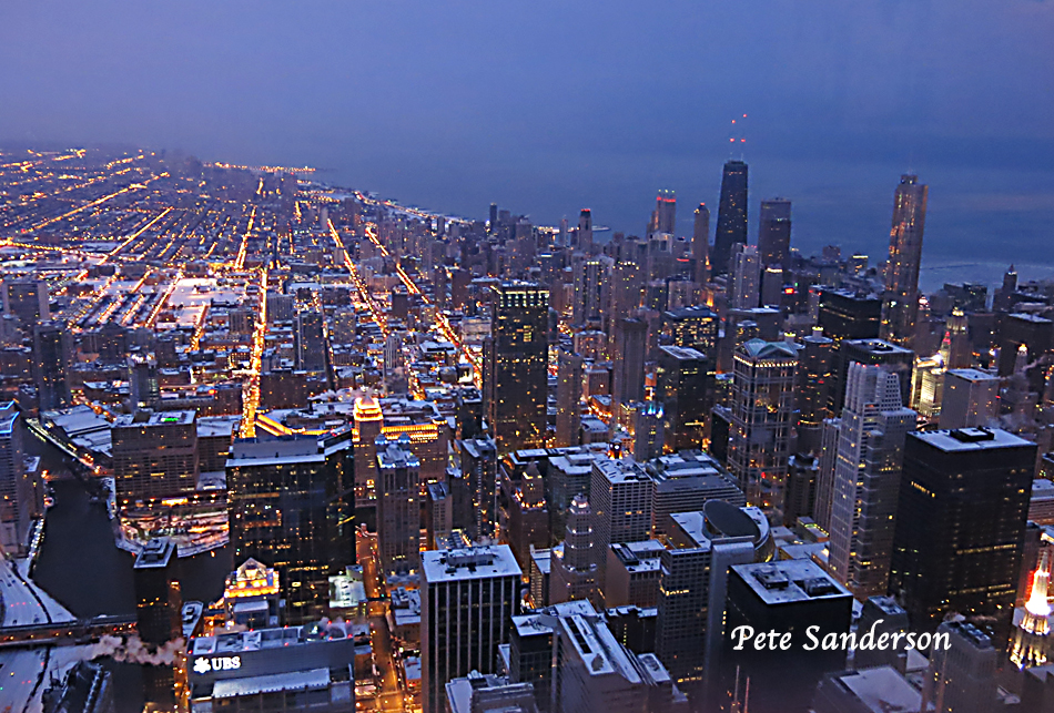 Chicago Twilight From The Willis Tower Sky Deck Md Leader
