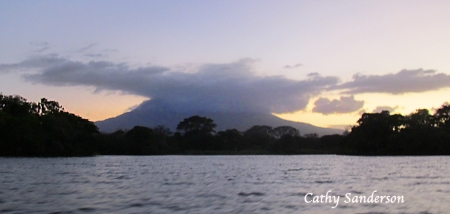 Mombacho as seen from Lake Nicaragua. It's peak is shroud by clouds, the source of moisture for the areas unique Cloud Forest.