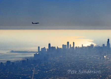 Over Chicago just after sunrise.
