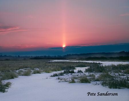 Upper sun pillar over Bear Creek, Portage County, Wisconsin