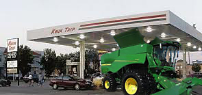Filling up the gas tank of my new John Deere S680 Riding Lawn Mower at the local Kwik Trip