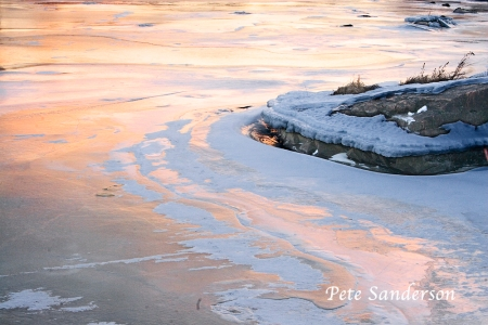 Ice and Reflections of Sunrise, Wisconsin River