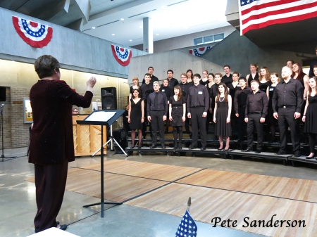 Professor Lucinda Thayer conducting the Concert Choir at Soiree Musicale.
